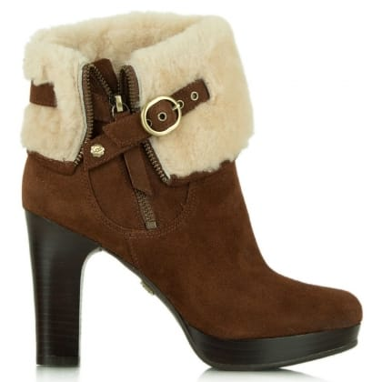 UGG® Australia Authorised Retailer Scarlett Chestnut Suede Shearling Ankle Boot