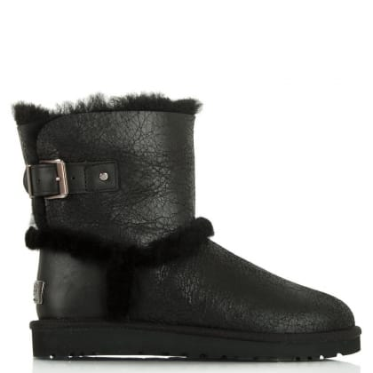 UGG Airehart Black Twinface Bomber Sheepskin Short Ankle Boot