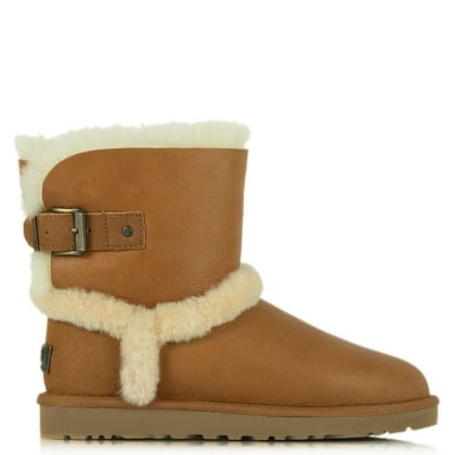 UGG® Australia Authorised Retailer Airehart Tan Twinface Bomber Sheepskin Short Ankle Boot