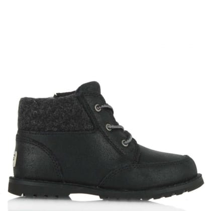 UGG Australia Kids Orin Black Soft Leather Lace Up Boot