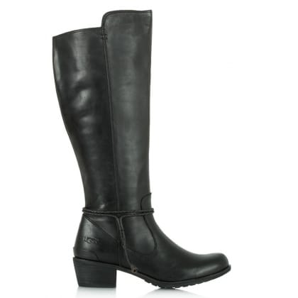 UGG Cierra Tall Black Grained Leather Knee Boots