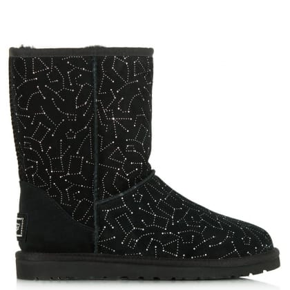 UGG® Australia Authorised Retailer Classic Short Black Suede Constellation Swarovski Boot