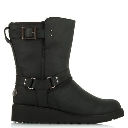 UGG Maddox Black Leather Asymmetrical Rivet Wedge Ankle Boot