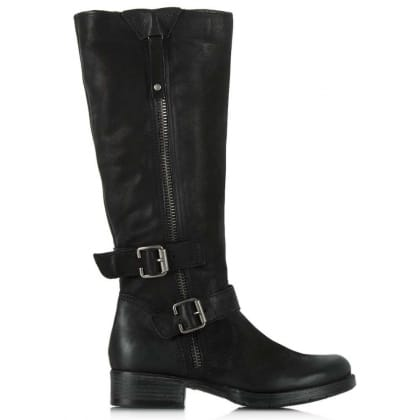 Daniel Magnificent Black Leather Zipper Detail Knee High Boot