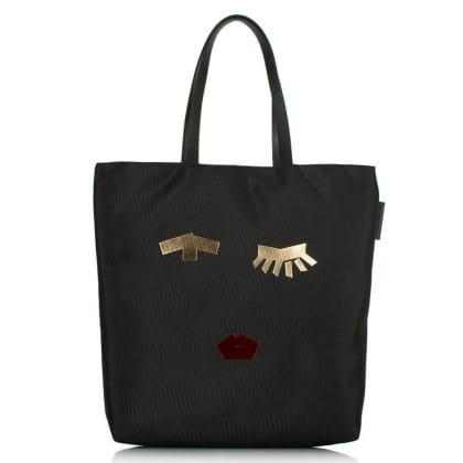Lulu Guinness Lucy Taped Face Black Nylon Tote Bag