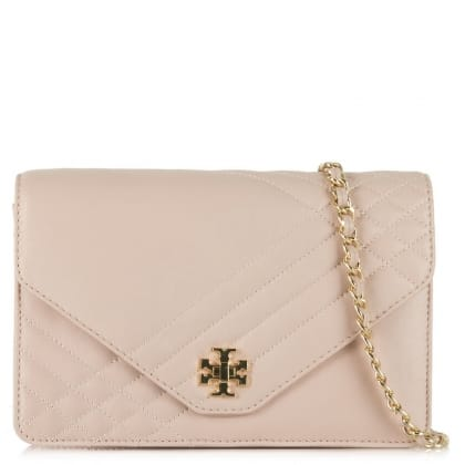 Tory Burch Kira Beige Leather Quilted Cross-Body Bag