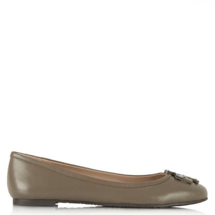 Tory Burch Lowell Taupe Leather Logo Ballet Pump