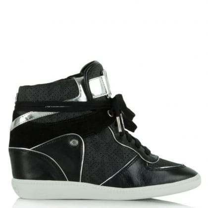 Michael Kors Nikki Black Leather High Top Concealed Wedge Trainer