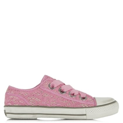 Vicky Ash Pink Lace Lace Up Ribbon Trainer