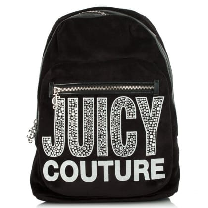 Juicy Couture Glam Goddess Black Velour Backpack