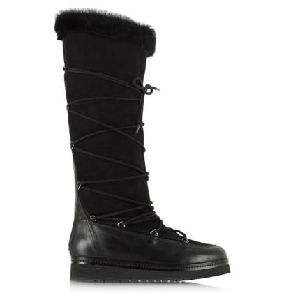 Daniel Noble Black Suede Shearling Lined Knee High Boot
