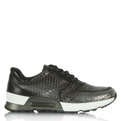 Daniel Strive Pewter Reptile Leather Lace Up Trainer