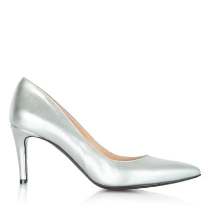 Daniel Maturity Silver Leather Pointed Court Shoe
