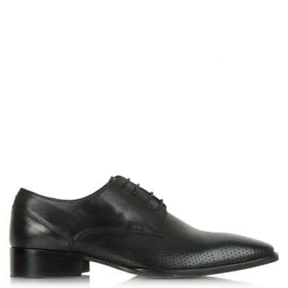 Daniel Jay Jay 272 Black Leather Perforated Lace Up Shoe
