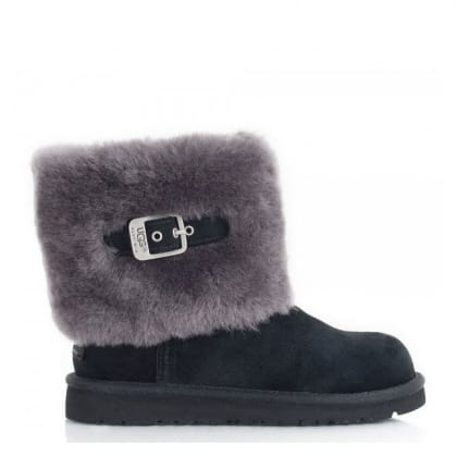 UGG Ellee Black Suede Kids Boot