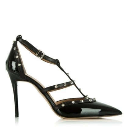 Daniel Tiff Black Leather Studded Court Shoe