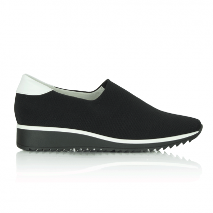 Hogl Mag Black Canvas Stretch Slip On Pump