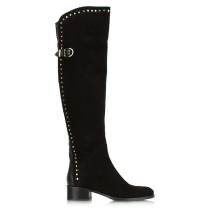 Daniel Leadership Black Suede Studded Over The Knee Boot