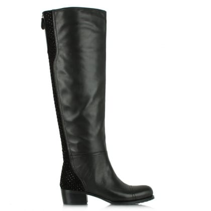 Daniel Overshadow Black Leather Embellished Knee Boot