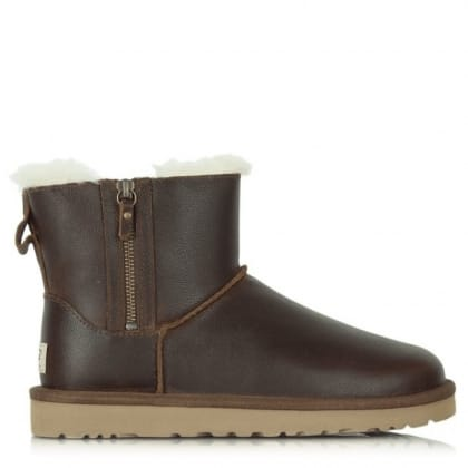 UGG® Australia Authorised Retailer Classic Mini Zip Brown Leather Boot