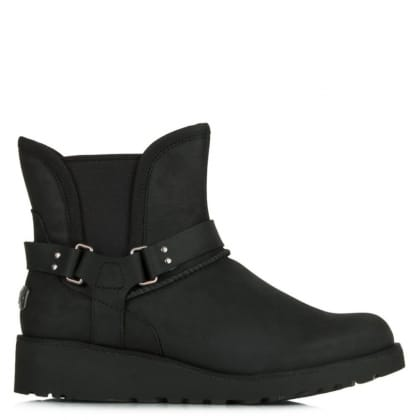 UGG Petra Black Leather Water Resistant Fixed Strap Ankle Boot