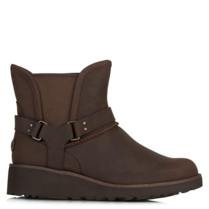 UGG Petra Brown Leather Water Resistant Fixed Strap Ankle Boot