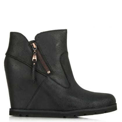 UGG Myrna Black Distressed Leather Concealed Wedge Ankle Boot