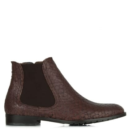 Lamica Acimal 84 Brown Leather Reptile Chelsea Boot