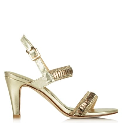 Daniel Petals Gold Leather Stone Strap Sandal