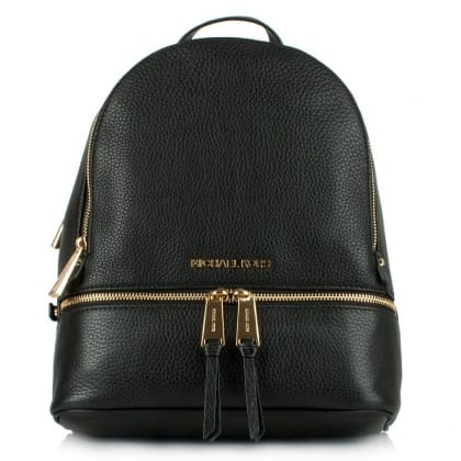 Michael Kors Rhea Black Leather Zip Fastening Back Pack