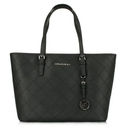Michael Kors Jetset Travel  Black Leather Top Zip Quilted Tote