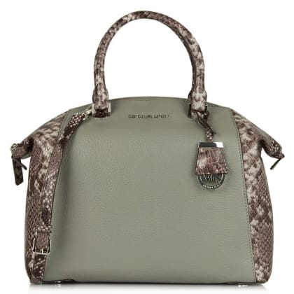 Michael Kors Riley Large Grey Contrast Round Satchel