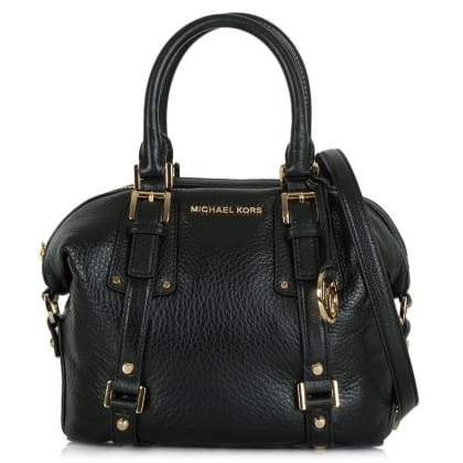Michael Kors Bedford Belted Satchel Black Textured Leather Bag