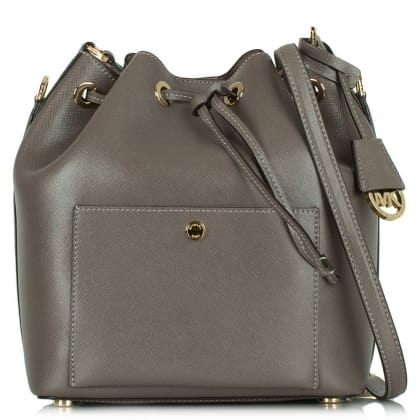 Michael Kors Greenwich Cinder Leather Large Bucket Bag
