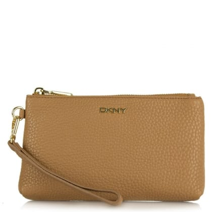 DKNY Leighton Dark Camel Leather Pebbled Wristlet Clutch