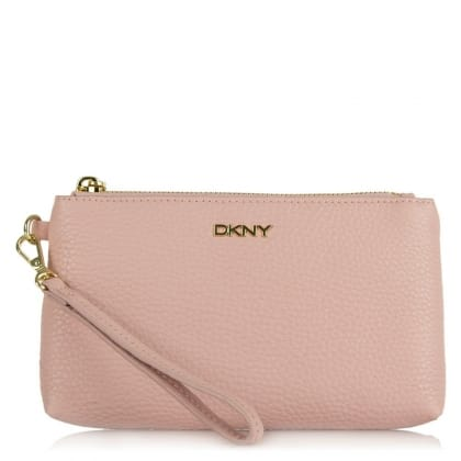 DKNY Leighton Rose Leather Pebbled Wristlet Clutch