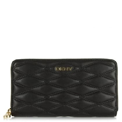 DKNY Audrina Black Diamond Quilted Zip Around Wallet