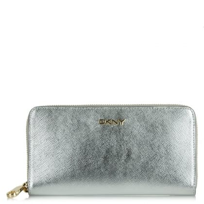 DKNY Hudson Silver Leather Zip Around Wallet