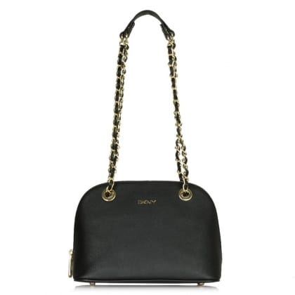 DKNY Camille Black Leather Dome Chain Handle Bag
