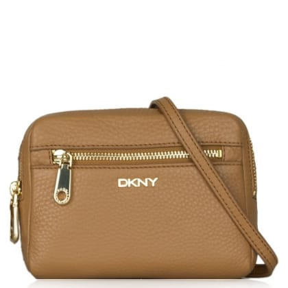 DKNY Lily Dark Camel Pebbled Leather Box Messenger Bag