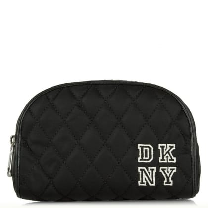 DKNY Kandy 15 Black Fabric Quilted Collegiate Medium Cosmetic Case