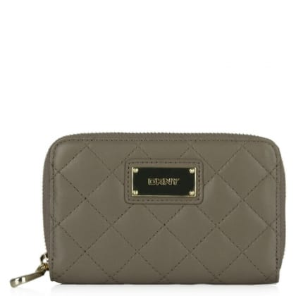 DKNY Kandy 52 Taupe Leather Quilted Zip Around Wallet