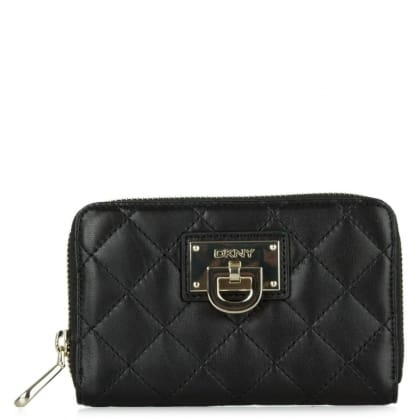 DKNY Kandy 95 Black Leather Quilted Medium Zip Around Wallet
