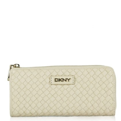 DKNY Kandy 55 Beige Leather Gold Logo Large Top Zip Wallet
