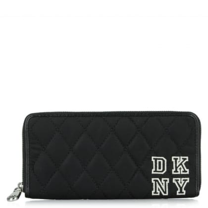 DKNY Kandy 16 Black Quilted Collegiate Zip Around Wallet