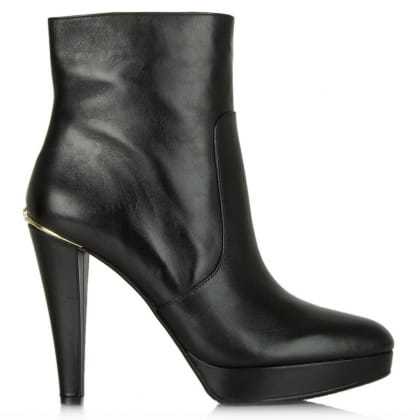 Michael Kors Georgia Platform Black Leather Ankle Boot