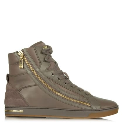 Michael Kors Glam Essex Cinder Leather High Top Trainer