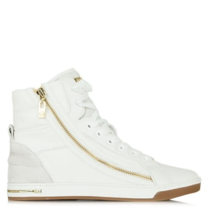 Michael Kors Glam Essex White Leather High Top Trainer