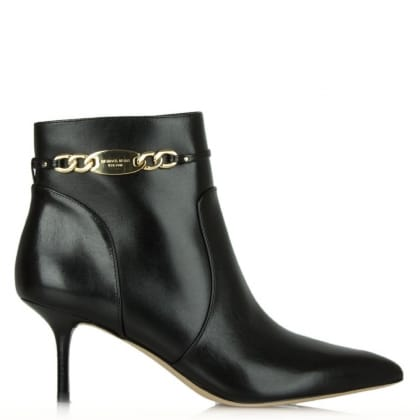 Michael Kors Lainey Black Leather Logo Charm Ankle Boot