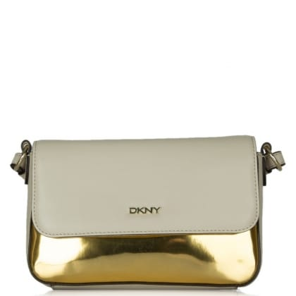 DKNY Kandy 17 Beige & Gold Leather Front Flap Crossbody Bag